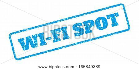 Blue rubber seal stamp with Wi-Fi Spot text. Vector message inside rounded rectangular shape. Grunge design and dust texture for watermark labels. Inclined blue sticker on a white background.