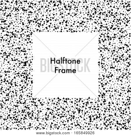 Abstract square dotted frame. Design frame with halftone effect. Black triangles on white background