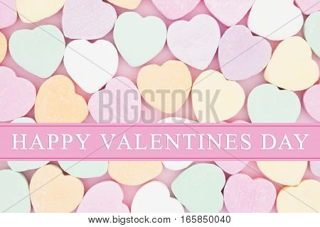 Old fashion Valentine's greeting Retro heart shaped candy with text Happy Valentine's Day
