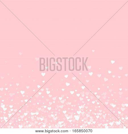 White Hearts Confetti. Scatter Bottom Gradient On Pale_pink Valentine Background. Vector Illustratio