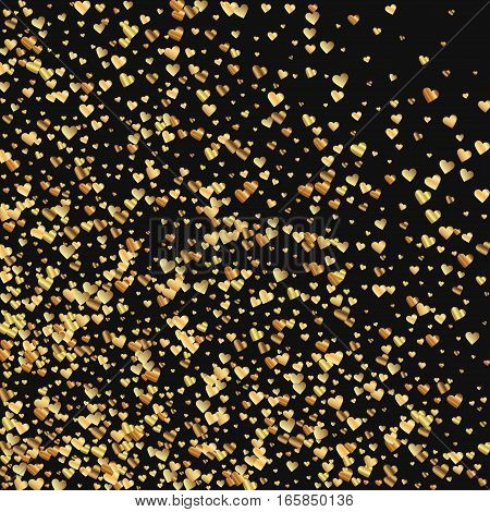 Gold Gradient Hearts Confetti. Abstract Mess On Black Valentine Background. Vector Illustration.