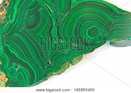 Malachite in front of white background Carbonate mineral