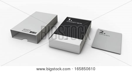 3D Illustration Of Opened Gray Software Package Box For Your Product