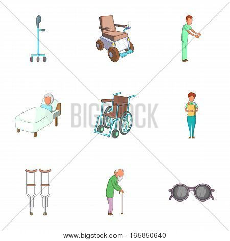 Disabled people icons set. Cartoon illustration of 9 disabled people vector icons for web