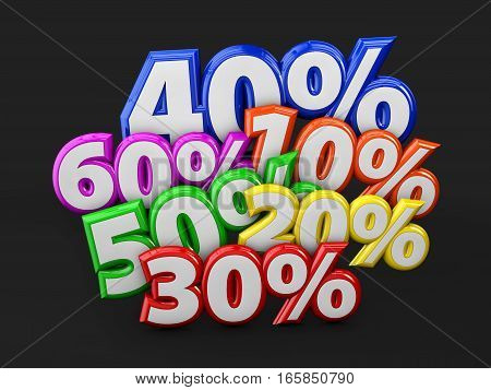 3D Illustration Of Discount Percents Off On Black Background