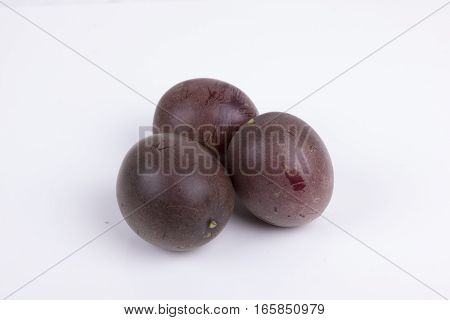 photo of passion fruit on a white background