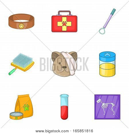 Clinic for pets icons set. Cartoon illustration of 9 clinic for pets vector icons for web