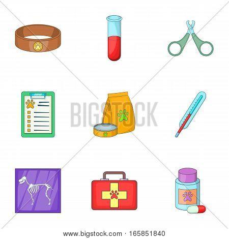 Veterinary equipment icons set. Cartoon illustration of 9 veterinary equipment vector icons for web