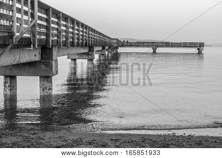 A view of the pier at Dash Point Washington. Black and white image.