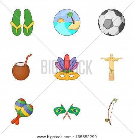 Brazil icons set. Cartoon illustration of 9 Brazil vector icons for web