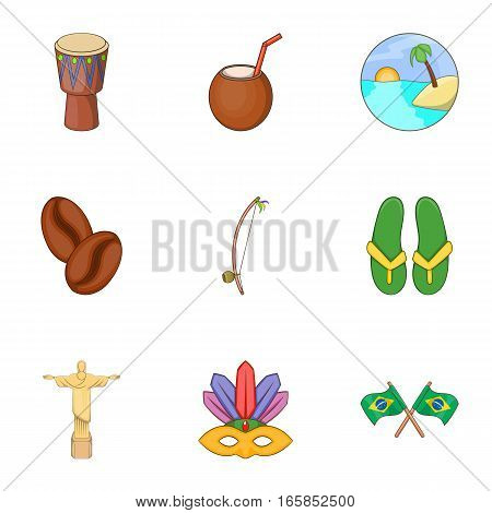 Brazil tourists attractions icons set. Cartoon illustration of 9 Brazil tourists attractions vector icons for web