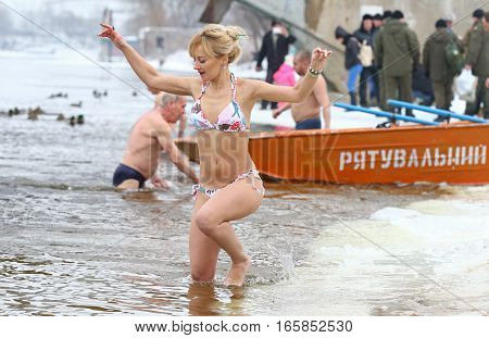 People Dip In Icy Water During Epiphany Celebration