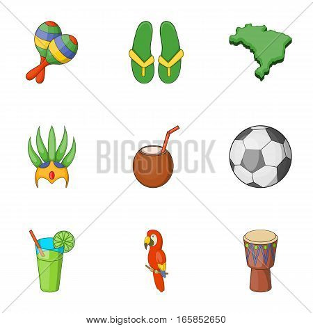 Travel to Brazil icons set. Cartoon illustration of 9 travel to Brazil vector icons for web