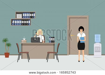 Web banner of an office workers. The young women are an employees at work. There is a beige furniture, brown chairs, shelves with folders, a water cooler in the picture. Vector illustration