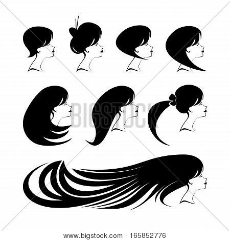 Vector Beautiful woman profiles for beauty salon, spa salon, firm or company. Abstract logo woman's face with different hairdresses. Vector illustration