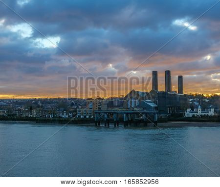 Greenwich power station at sunrise. Taken on a January morning of a lovely sunrise over the Greenwich power station which dates back to the 1900s.