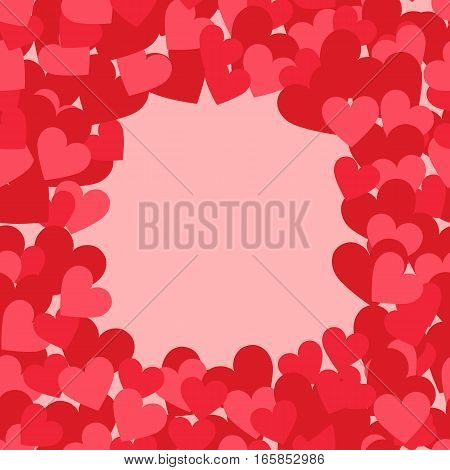 Valentine vector love illustration with frame of herts