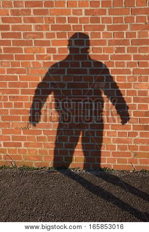 shadow of a man on a red brick wall outdoor