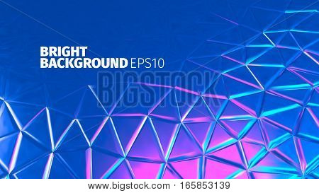 Bright blue triangular background. Toxic metal surface. Glossy banner for web
