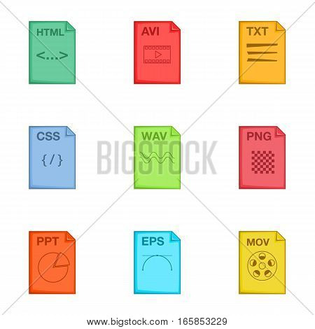 Type of file icons set. Cartoon illustration of 9 type of file vector icons for web