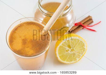 Honey Lemon And Cinnamon Drink