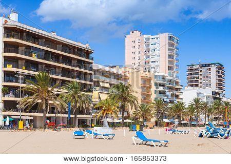 Public Beach Of Calafell Resort Town, Spain