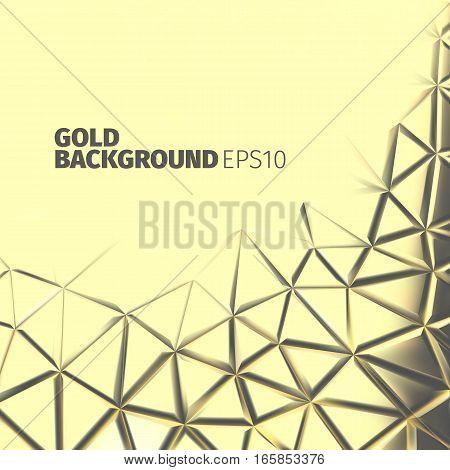 Gold triangular background. Vector luxury banner. Metal surface