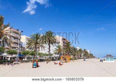Wide Public Sandy Beach Of Calafell, Spain