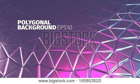 Retro purple triangular background. Vector shiny banner. Luxury backdrop