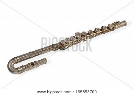 Copper classical bass flute isolated on white background