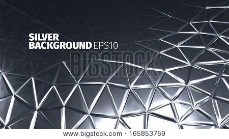 Steel triangular background. Vector silver banner. Iron backdrop