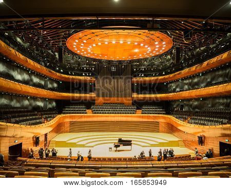 KATOWICE POLAND - JANUARY 14, 2017: Interior of modern concert hall of the National Symphonic Orchestra of Polish Radio (NOSPR) in Katowice Poland.