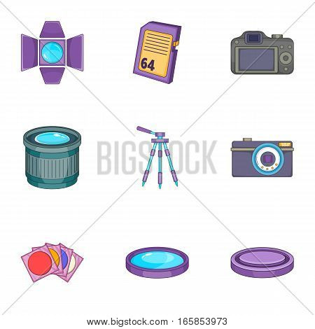 Photography icons set. Cartoon illustration of 9 photography vector icons for web