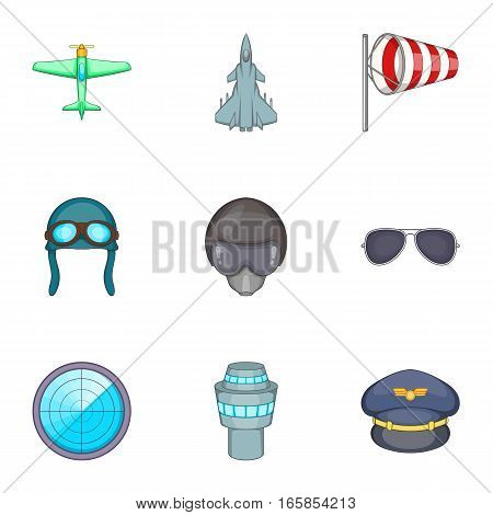 Pilot icons set. Cartoon illustration of 9 pilot vector icons for web