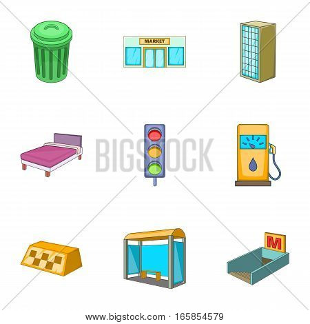 Urban elements icons set. Cartoon illustration of 9 urban elements vector icons for web