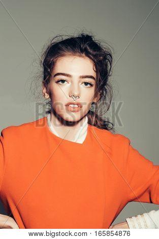 Pretty Fashionable Girl In Orange Jacket