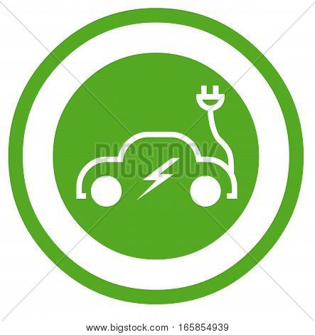 Electric car symbol illustration with a white background