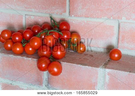 Fresh red tomatoes cherry with branches on the red brick shelf