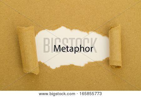 metaphor word written under torn paper .