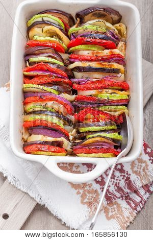 Tian vegetable casserole served on a napkin.
