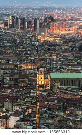view of the old center of the city of naples, italy