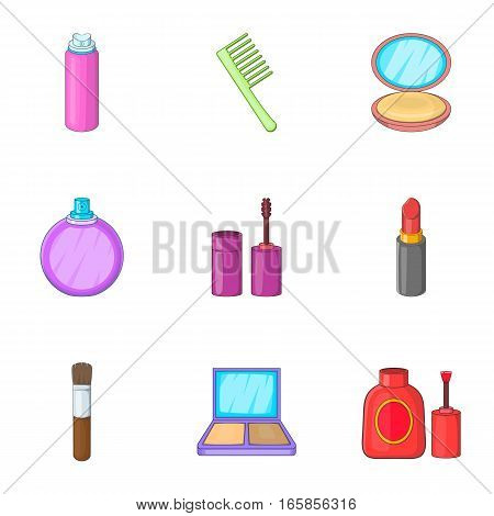 Makeup cosmetics icons set. Cartoon illustration of 9 makeup cosmetics vector icons for web