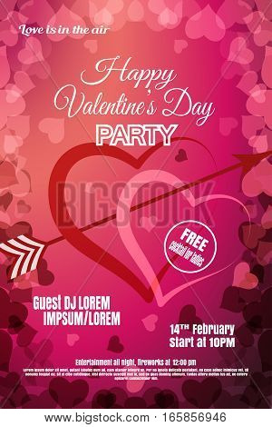Vector Happy Valentine's Day night party poster on the gradient red and dark pink background with hearts.