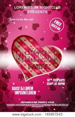 Vector Happy Valentine's Day night party poster on the gradient pink background with cutout heart heart silhouettes and stars.