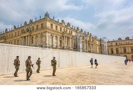 Versailles, France - June 2016: Military patrol in the park of Versailles castle