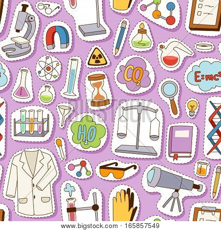 Science seamless pattern education design. Flat design pharmacy lab study concept vector illustration. Molecule background scientist structure experiment technology.