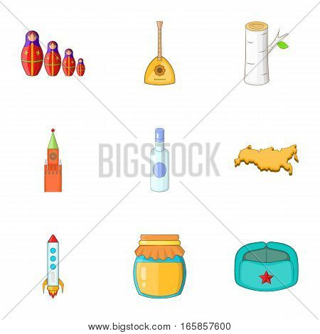 Symbols of Russia icons set. Cartoon illustration of 9 symbols of Russia vector icons for web
