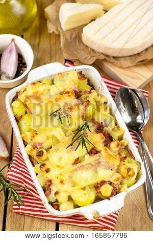 French dish Tartiflette with potatoes onions reblochon cheese and bacon