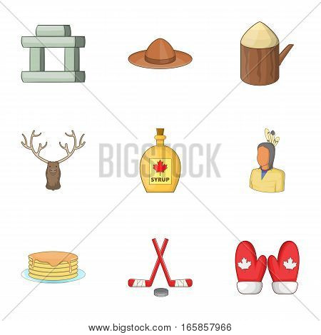 Canadian symbols icons set. Cartoon illustration of 9 Canadian symbols vector icons for web