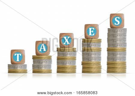 Fiscal taxes concept with pile of coins isolated on white background